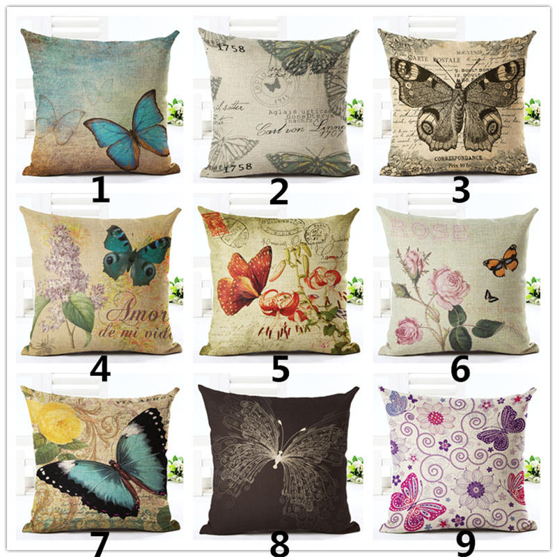 American country Linen Vintage Butterfly Cushion Cover Sofa Decorative Linen Throw Pillows Case Waist Pillow cover almofadas