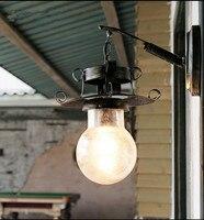 Américain nostalgique rural fer art mur lampes Rétro creative E27 LED bulle en verre abat-jour pour les escaliers et café et porche et allées LDK038