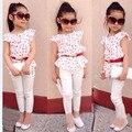 Moda 3 Pcs bebê meninas de manga curta + calça + cinto de roupas crianças roupas de verão