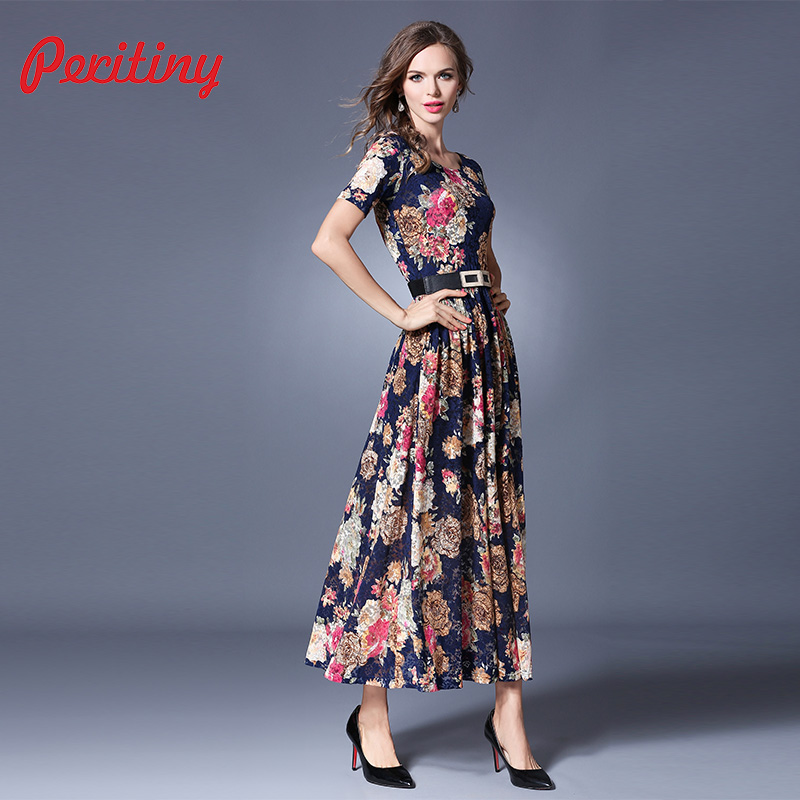 b6002cc0363 Peritiny 2018 Summer Runway Maxi Dress Women s Short Sleeve Ankle Length  Beach Party Floral Printed Vintage
