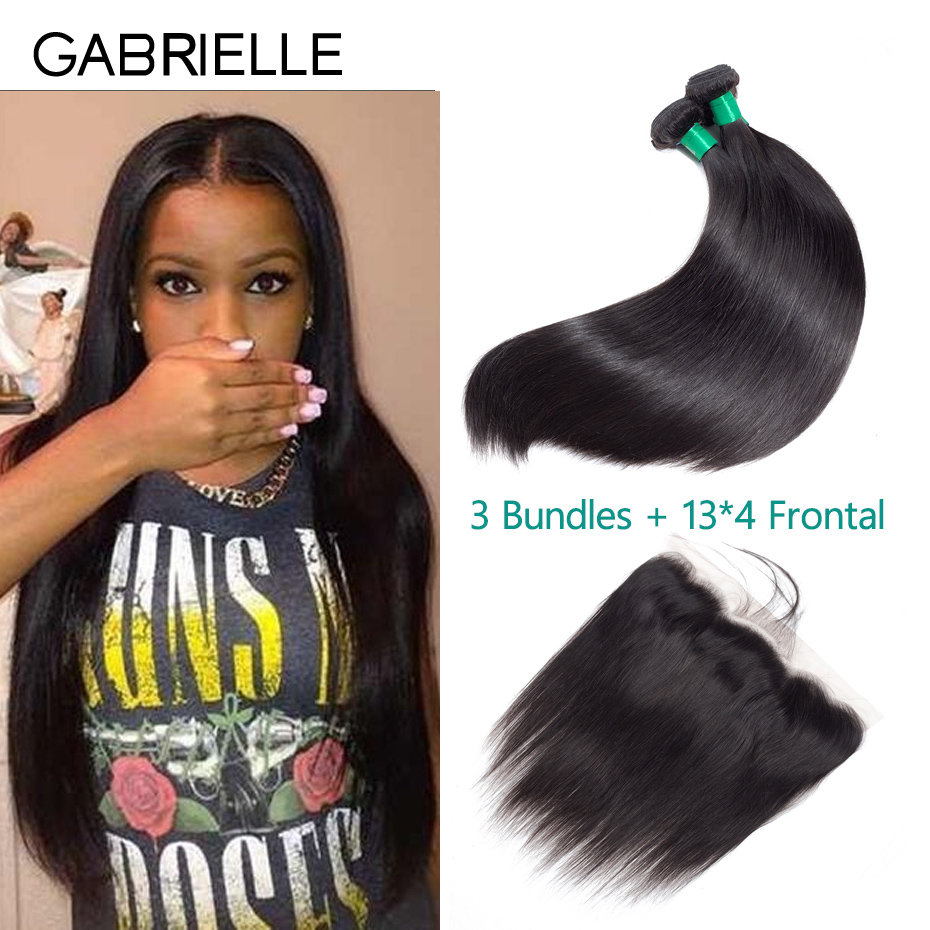 Gabrielle Peruvian Straight Hair Bundles with Lace Frontal Closure 4pcs lot Non Remy Human Hair Weaves