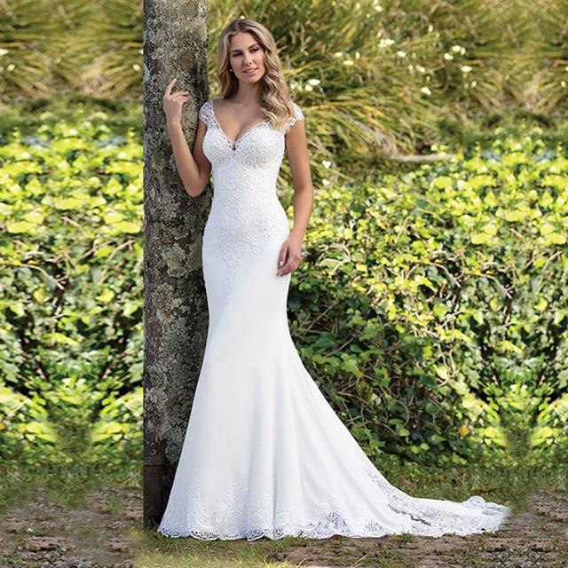 Eightale Boho Wedding Dress Appliques Lace Wedding Gown Custom made Spadex Chiffon Cap Sleeves V Neck Mermaid Bridal Dresses