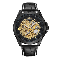 ORKINA Gold Black Skeleton Mechanical Watch Men Automatic Self Wind Montre Automatique Homme Male Clock Wrist Watches
