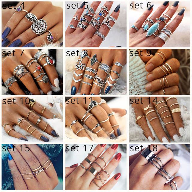 09a550c7f6bcd 17KM Fashion Gold Color X Knuckle Rings Set For Women Vintage Midi Finger  Ring Female Party Jewelry Gifts Drop Shipping 5Pcs/Set