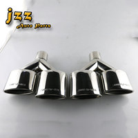 1set 2pcs Stainless Steel Car Silence Exhaust Pipe Double Slant Rolled Tailpipes Muffler Tails Tip