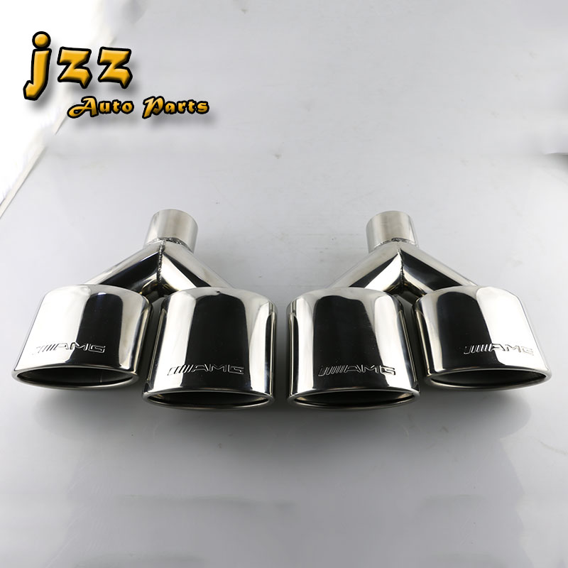 1set(2pcs) Stainless Steel Car Silence Exhaust Pipe Double Slant Rolled Tailpipes Muffler Tails Tip stylish stainless steel car exhaust pipe muffler tip