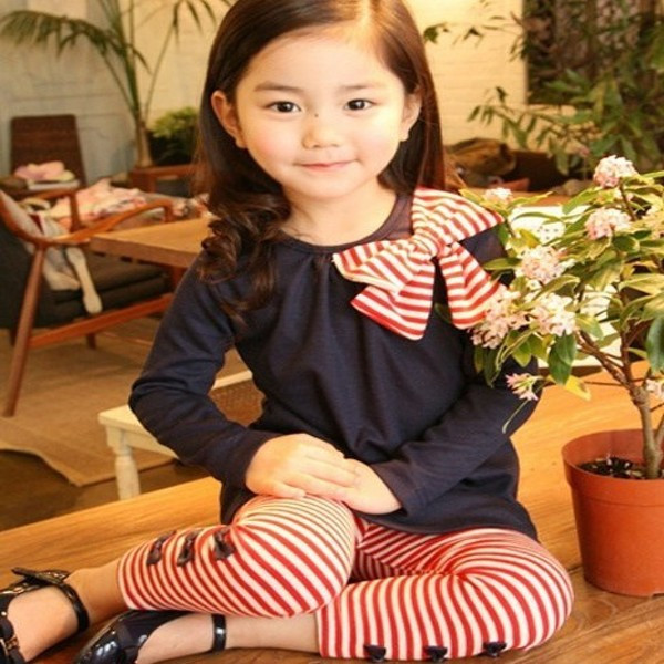 Kids Girls Bow Striped Leggings Suit Long Sleeve Shirts Tops Clothes Set Outfits Size 3-8 Y