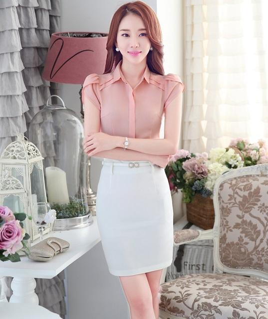 New Professional Mulheres de Negócio Ternos Com Blusas E Saia Define Styles Uniformes Ladies Escritório Tops Camisas Roupas Femininas