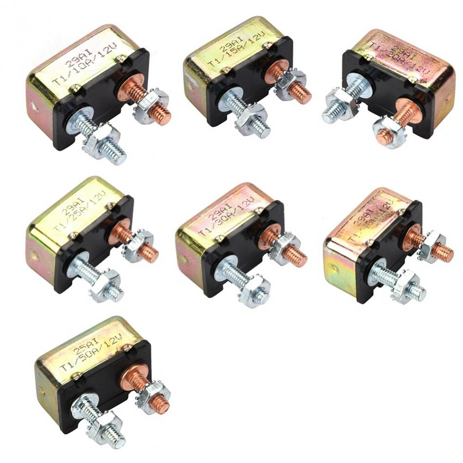 buses trucks electric cars car engines 12V//24V 20A Manual Reset Circuit Breaker with Cover Stud Bolt Type and Screw for battery chargers
