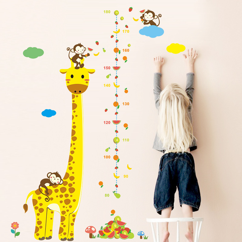Cute Giraffe Animals Stack Height Measure Wall Stickers