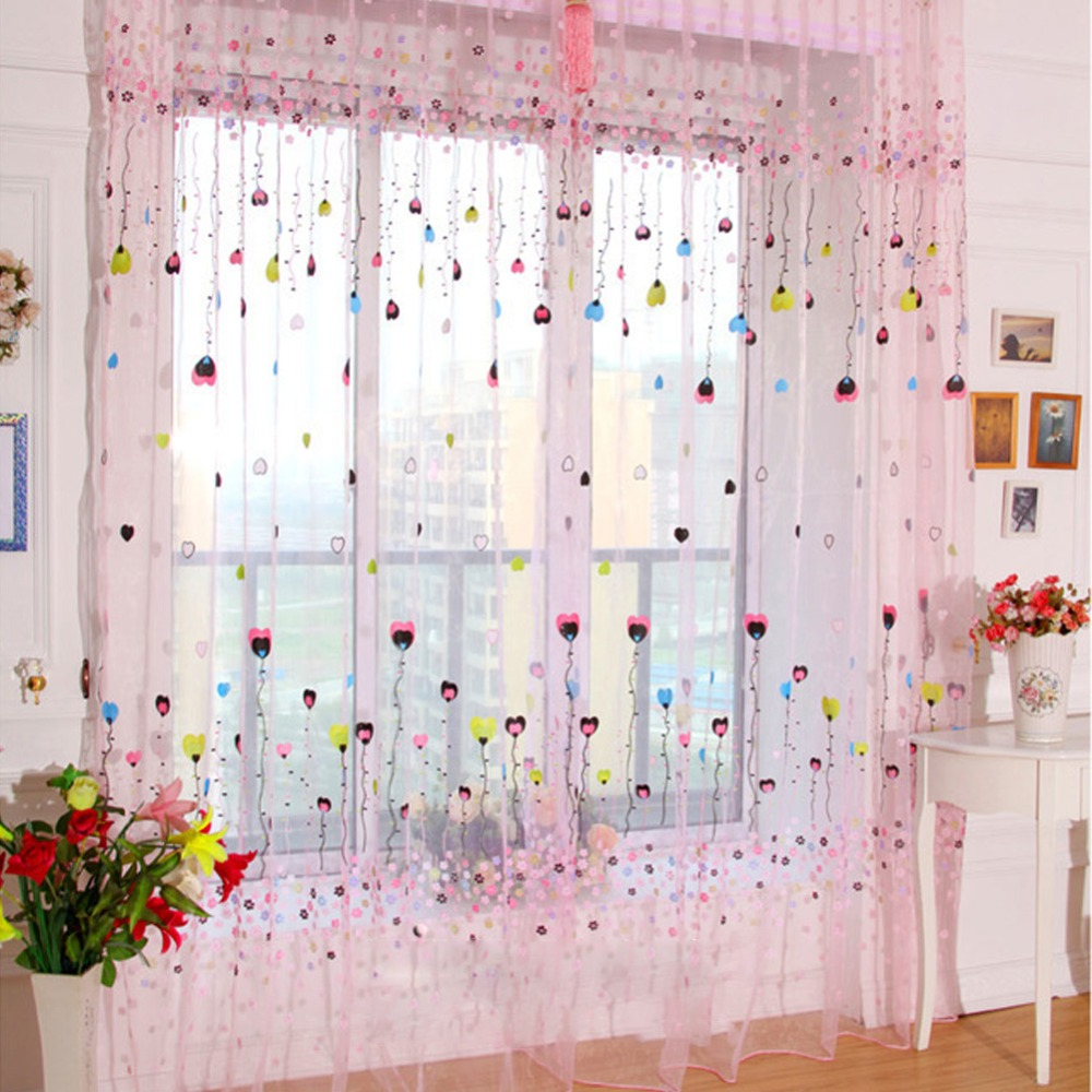 2 color balloon tulle voile door window curtains for living room drape panel sheer scarf