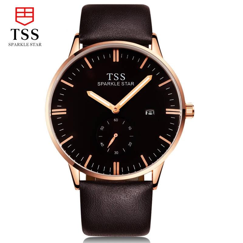 TSS Fashion men watch Bauhaus series Male Quartz Watch Male Watch Fashion Waterproof Calendar Leisure Simple Italian leather