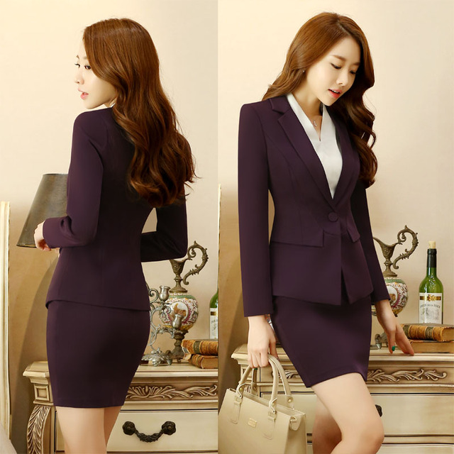 Novelty Purple Long Sleeve Formal Professional Office Work Wear Blazers Suits With Jackets And Skirt For Ladies Uniforms Blazer