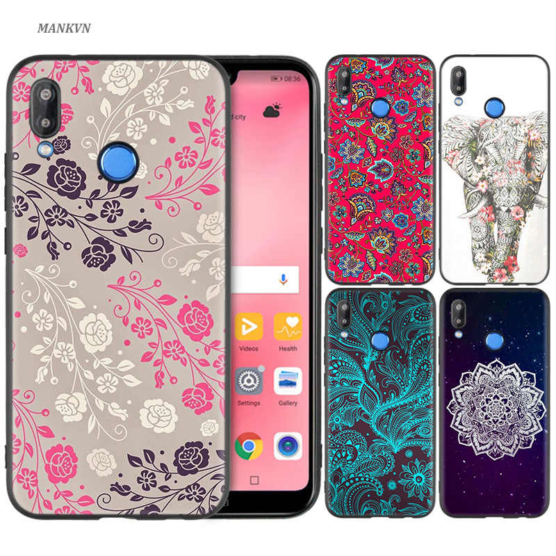 Silicone Case Cover for Huawei P20 P10 P9 P8 Lite Pro 2017 P Smart+ 2019 Nova 3i 3E Phone Cases Floral Paisley Flower Mandala He