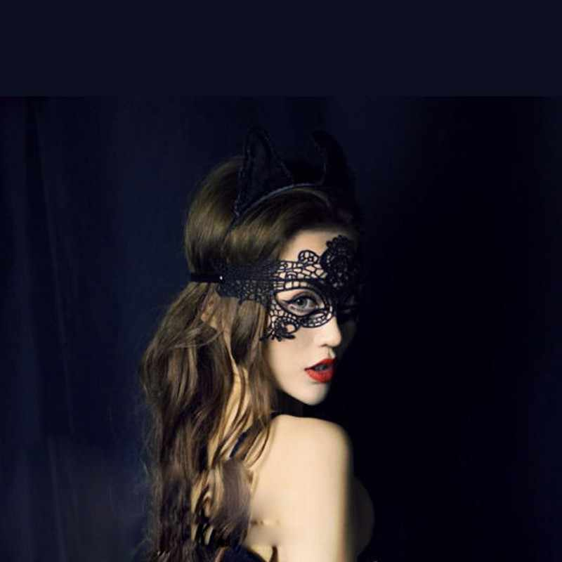 Hot Diaries Style Catwoman Mask Black Women Sexy Lace Cutout Eye Mask Party Masks For Masquerade Halloween Venetian Costumes