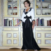 Elegant White and Black Taffeta Mother of the Bride Formal Evening Gown Floor Length with Jacket for Wedding Party