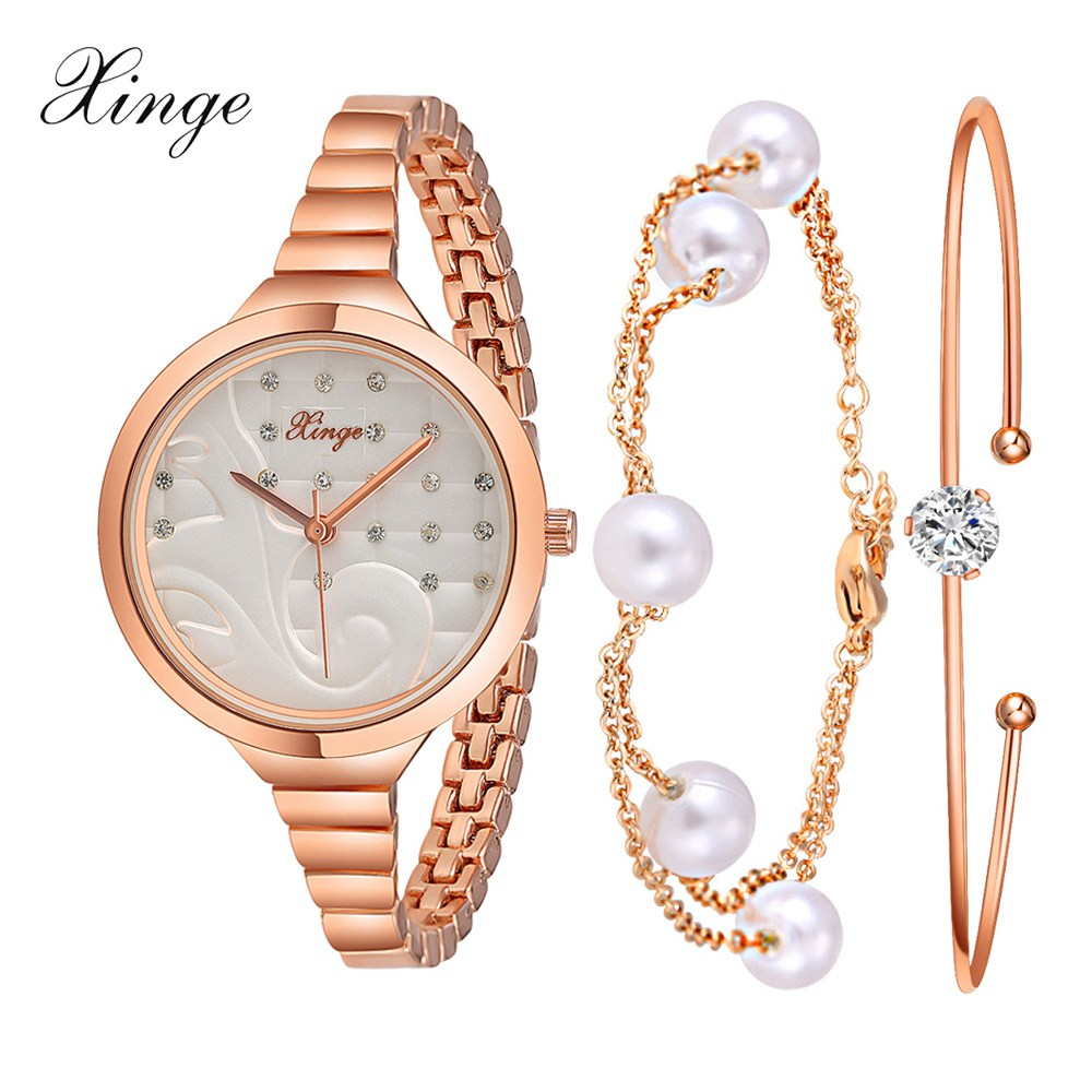 Xinge Brand Watches Women Crystal Bracelet Waterproof Rose Gold Wristwatches Set Watches For Women Luxury Female Quartz Watch xinge brand luxury crystal quartz watch women bracelet rhinestone jewelry watch set wristwatch waterproof women dress watches