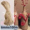 6mmx100m High Tenacity Sisal Ropes Jute Twine Rope Natural Hemp Cord Decor Cat Pet Scratching Home Art Decoration Khaki
