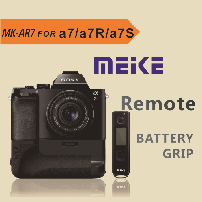 Meike MK-AR7 Battery Grip for Sony A7/A7R/A7S 2.4G Wireless Remote system meike mk ar7 2 4g wireless remote system vertical battery grip holder with 2pcs np fw50 battery for sony a7 a7r a7s as vg c1em