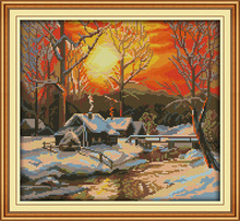 Joy Sunday The winter morning in snow  DMC Counted Chinese Cross Stitch Kits printed Cross-stitch set Embroidery Needlework