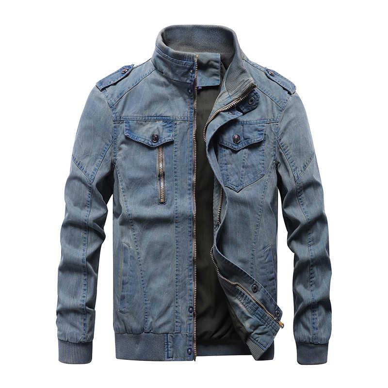 新 2019 ヴィンテージミリタリーデニムジャケット男性ブランドボンバージャケット男性ビッグサイズ M-6XL スタンド襟スリムフィット Jaqueta Masculina