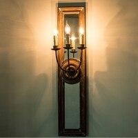 Винтаж Ретро Лофт E14 свеча зеркало светодио дный Настенные светильники Гостиная коридор Спальня деревянный светодио дный освещение Бра Дек