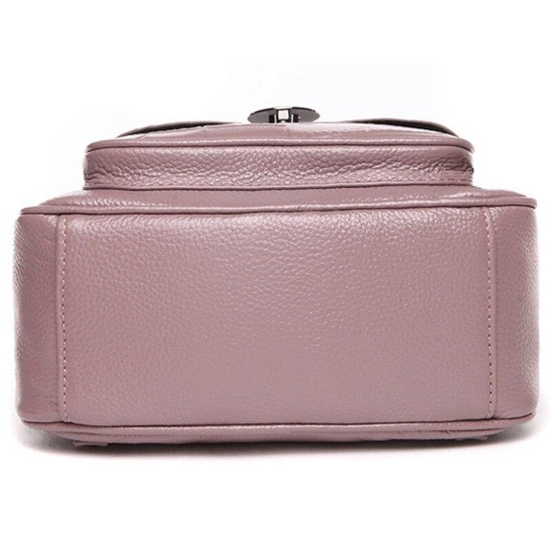 Zency 100% véritable cuir de vache femmes sac à dos en pierre modèle de fille cartables mode femme solide voyage sacs charme rose sac à dos-in Sacs à dos from Baggages et sacs    2