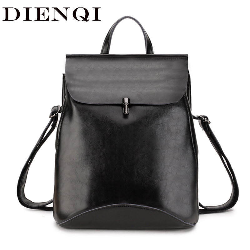 DIENQI Genuine Leather Women Backpack 2018 Female Bag Feminine Backpacks For Teenager Girl Schoolbag Back Pack Sac A Dos Femme