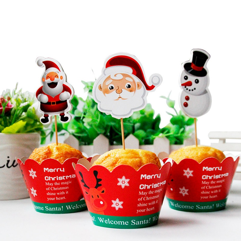 24pcslot Christmas Santa Claus Paper Cupcake Wrappers Toppers For Kids Party Birthday Decoration Cake Cups(12 wraps+12 topper)