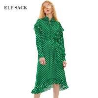 ELF SACK Spring New Women Dot Long Chiffon Dresses Ruffles Womens Stringy Selvedge Vintage Lantern Sleeve