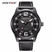 2017 New RISTOS Leather Men Sports Watches Date Calendar Fashion Male Wristwatch Army Hombre Reloj Male