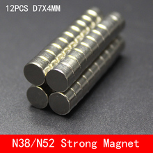 12pcs/lot Super Strong Rare Earth disc 7mm x 4mm Permanet Magnet Round Neodymium N52 N38 7*4MM surface plate nickel