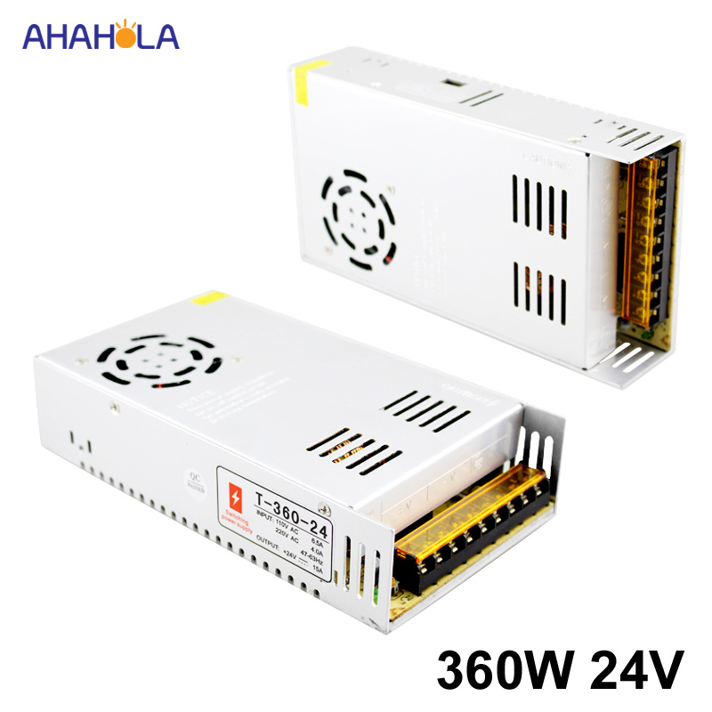 AC 220v to <font><b>24v</b></font> Dc <font><b>Power</b></font> <font><b>Supply</b></font> <font><b>24v</b></font> <font><b>15a</b></font> 360w Output Switching <font><b>power</b></font> <font><b>supply</b></font> <font><b>24v</b></font> <font><b>15a</b></font> 360w Smps Source Led <font><b>Power</b></font> <font><b>Supply</b></font> 24 v image