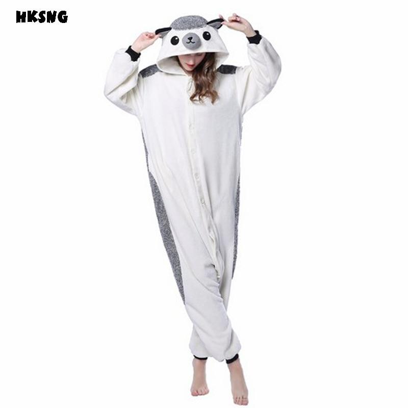 HKSNG взрослых зимние теплые утолщаются Ежик кигуруми пижамы костюм для  косплея киругуми домашняя одежда для Хэллоуина 1537eab244f98