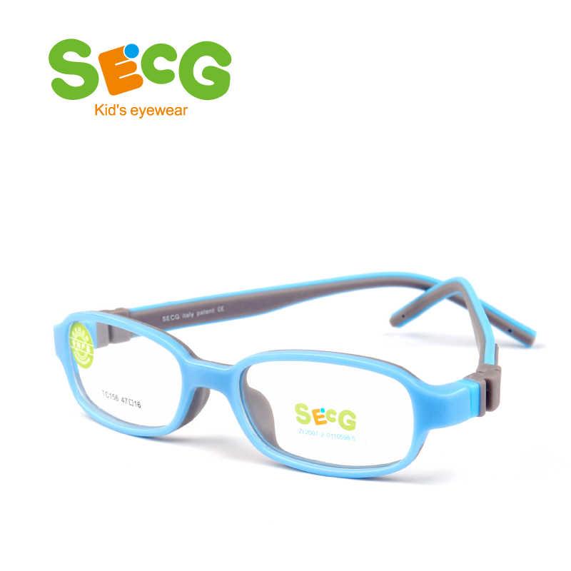 SECG Quadrado Destacável Estudantes Sólidos Silicone Macio Crianças Óculos de Armação Flexível Crianças Óculos Ópticos Óculos Luneta