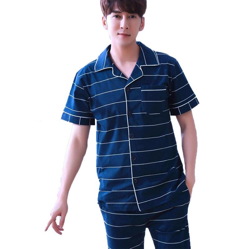 Summer Men Pyjamas Set Striped Turm-down Collar Cotton Short Sleeve Shirt and Shorts Sleepwear Suit Male Pajamas Sleep Clothing