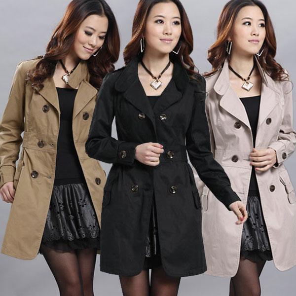Мода 2017 г. осень-зима женские Карманный Slim Fit Двойной Брестед Тренч пиджаки женские Пальто Манто Роковой