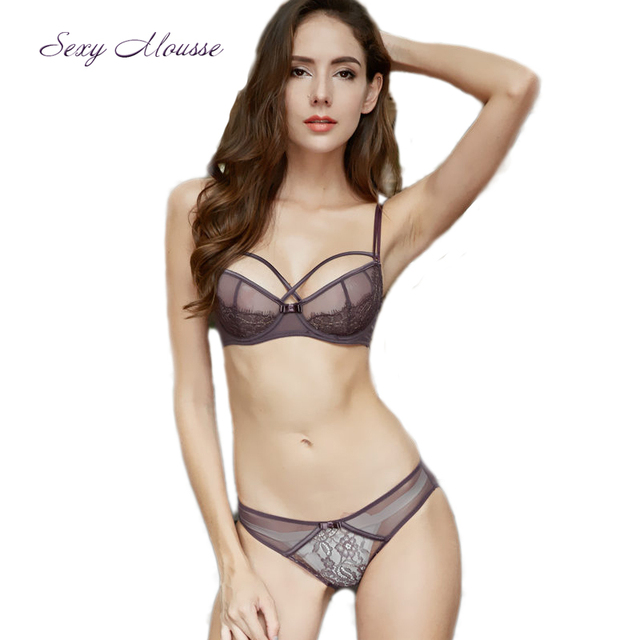 7463cbd3851 Sexy Mousse Red embroidery flower elegant underwear big size bra and Panty  set lace set satin lingerie For Women Cup 32-38B C D