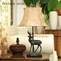 Американский светильник в форме оленя  прикроватная лампа для спальни  деревенский Ретро Простой европейский стиль  китайский стиль  лампа ...