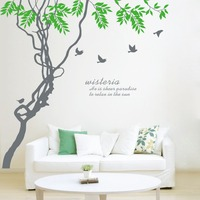 The New 2016 Ivy Twig Bird Living Room Bedroom Duplex Visual Pattern Background Wall 3D Stickers