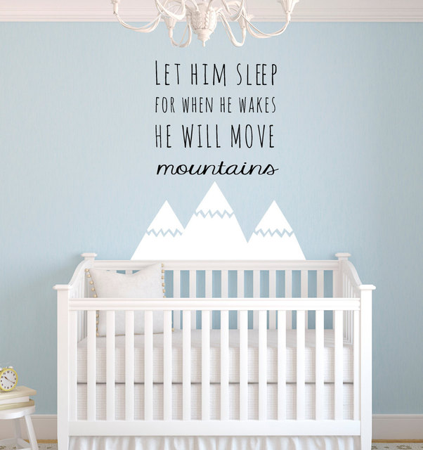 Nordic Style Mountains Quotes Wall Sticker For Kids Room Baby Nursery Decor Boys Bedroom