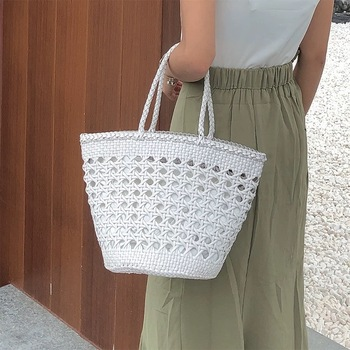Country Style Hollow-out Genuine Leather Women White Knitted Basket Totes Bag Lady Top-handle Handbag Female Woven Portable Bag