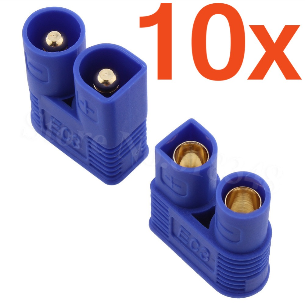 10Sets EC3 Connector Female Male 3.5mm Gold Bullet Banana Plug RC ESC LIPO Battery Electric Motor Airplane Quadcopter Parts DIY