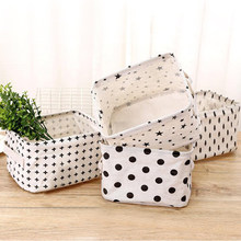 1Pc Creative Cotton Linen Desktop Storage Basket Sundries Storage Box Underwear Cosmetic Organizer Jewelry Stationery Container(China)