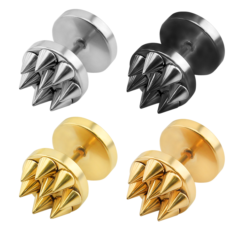 Gold mens spike earrings stainless steel small ear studs black punk stud earrings for men women double sided boucle doreille