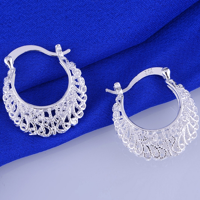 925 sterling silver earrings , 925 silver fashion jewelry , cambered hollow shiny /chbakyia dyjampqa LQ-E329