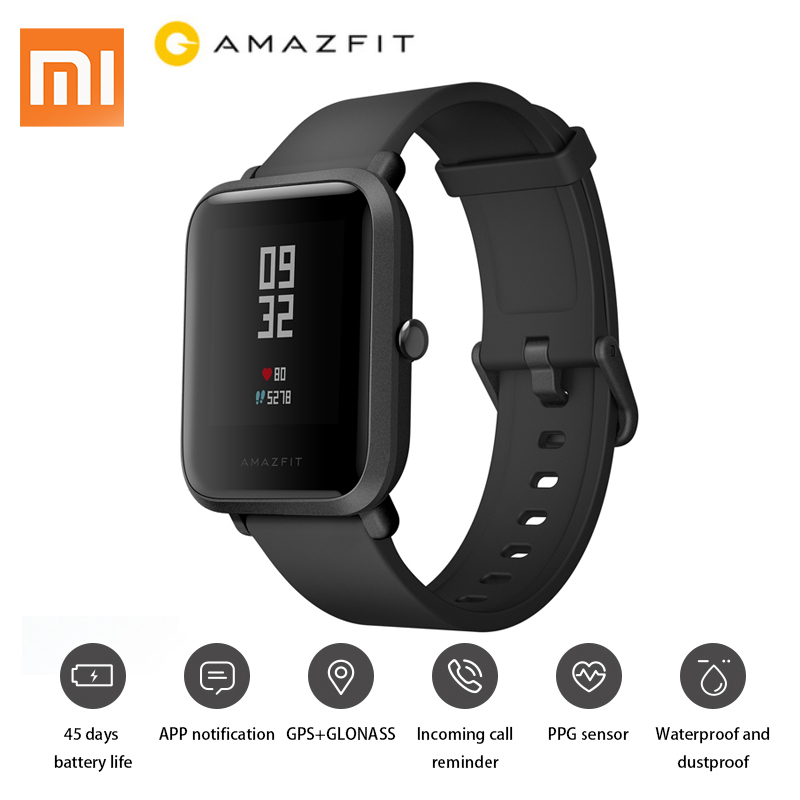 English Version Xiaomi Amazfit Smart Sports Watch Huami Mi Fit Youth Edition Bip BIT PACE Lite Waterproof GPS Compass Heart Rate 3in1 milanese loop strap for xiaomi huami amazfit bip bit youth band edition smart watch heart rate bracelet screen protector