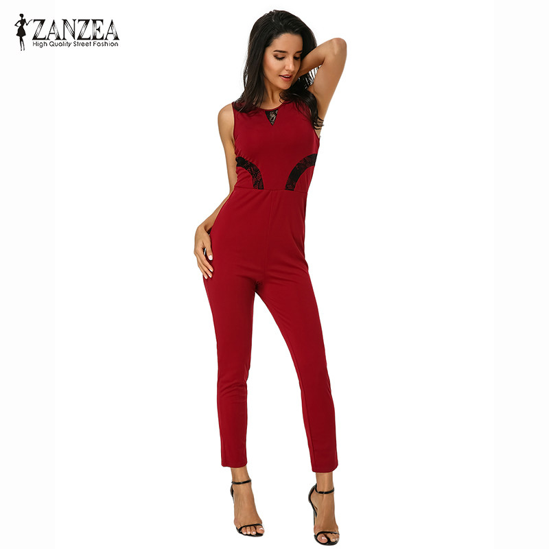 ZANZEA Womens 2018 Summer Sleeveless Bodycon Overalls Dungarees Female Playsuit Slim Fitness Rompers Jumpsuits Bodysuit Pants