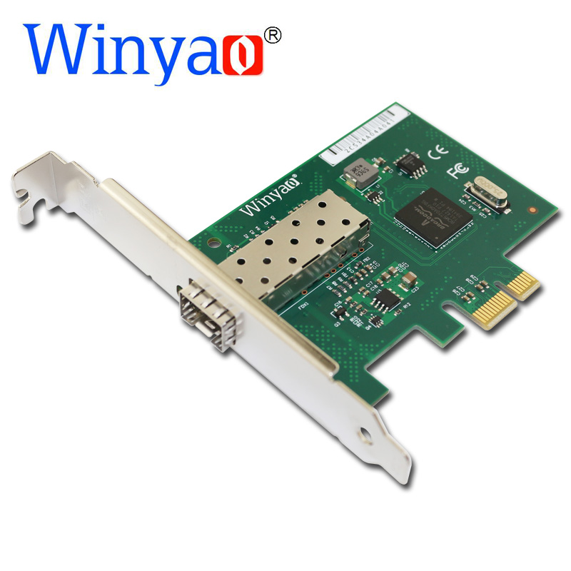 Winyao WY5720DF PCI-Express X1 1000Mbps Gigabit Ethernet Lan Fiber Desktop Network Card For BCM5720 SFP PCI-E 1G Nic