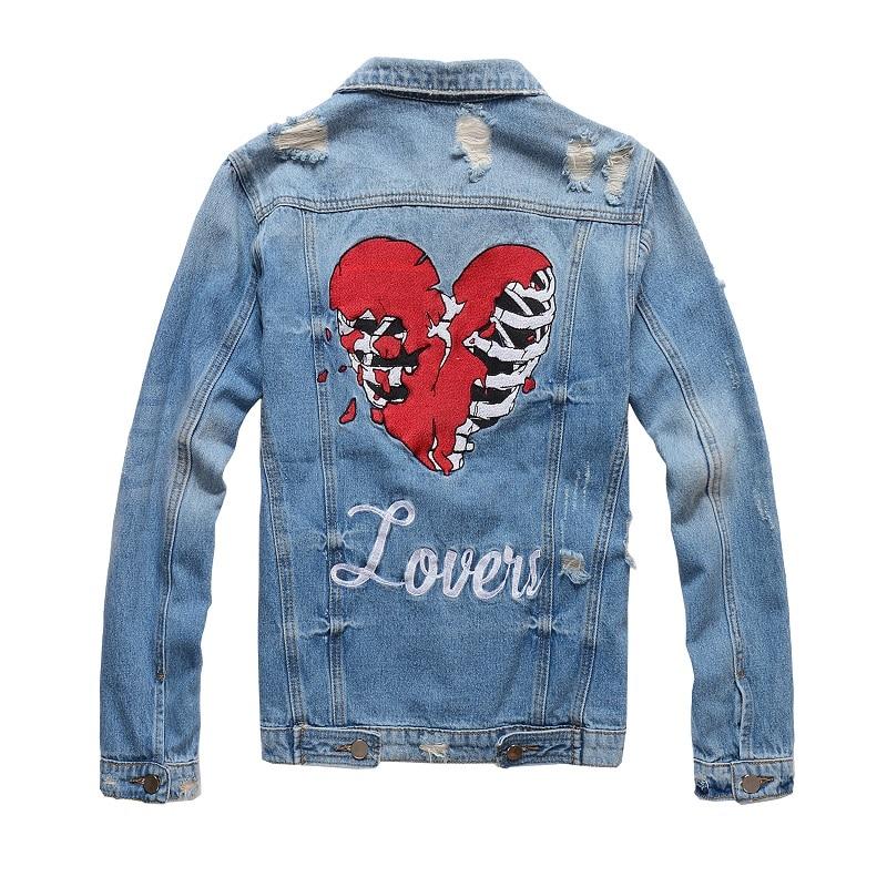 Mens Distressed Embroidery Skull Heart  Biker Blue Denim Jacket